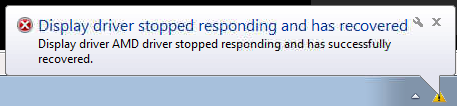 Display driver stopped responding and has recovered.