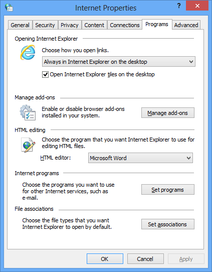 Internet Explorer 10 Internet Settings